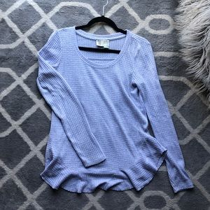 Anthropologie Open-Back Waffle Tee/Sweater